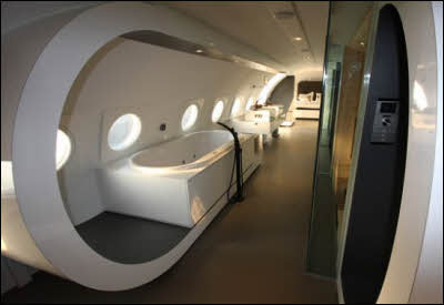 Luxury Airplane Hotel Bathroom