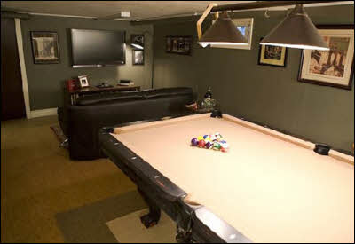 Man Cave with Pool Table and TV Area